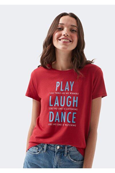 Mavi Play Laugh Dance Baskılı Kırmızı Tişört