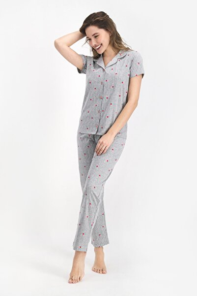 ROLY POLY Kadın Gri Gömlek Pijama Takımı