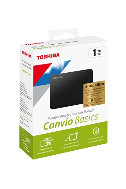 Toshiba 1tb Toshıba Canvio Basics 2.5'' Usb3.2 Gen1 + Type-c Adaptör Hdtb410ek3ab