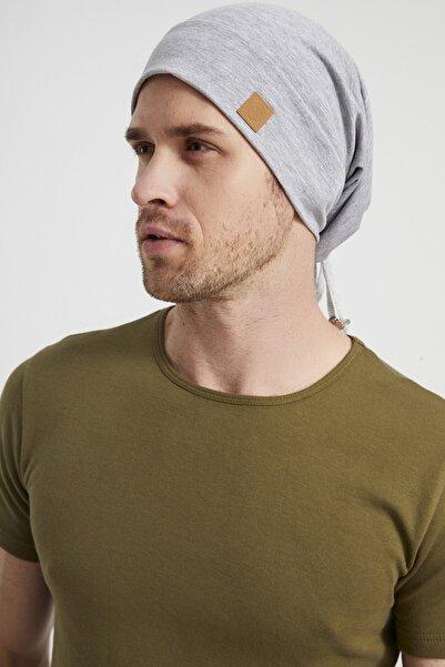 Butikgiz Erkek Gri, Ip Detaylı Özel Tasarım 4 Mevsim Şapka Bere Buff -ultra Yumuşak Doğal Penye Kumaş