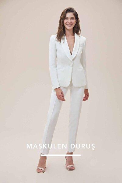 Oleg Cassini Beyaz Dar Kesim Takım Elbise Gelinlik Pantolonu