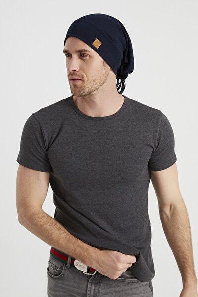 Butikgiz Erkek Lacivert, Ip Detaylı Özel Tasarım 4 Mevsim Şapka Bere Buff -ultra Yumuşak Doğal Penye Kumaş