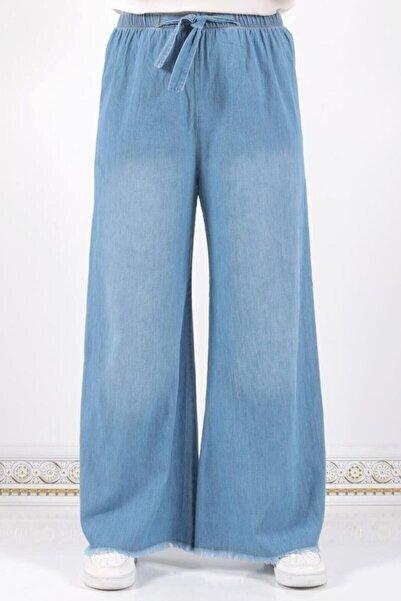 Tesettür Dünyası Kadın Mavi Beli Lastikli Bol Paça Pantolon
