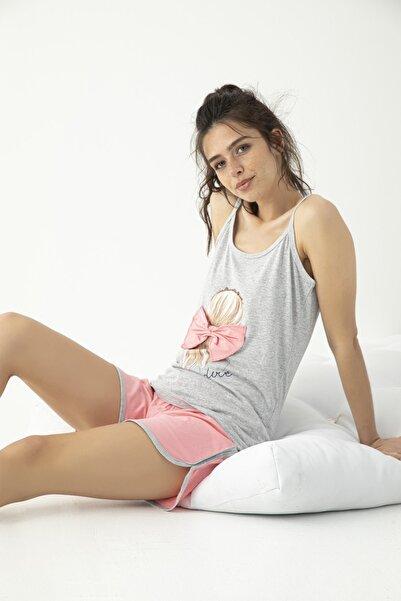 Mirano Kadın Ip Askılı Şortlu Baskılı Pijama Takımı Pembe-gri Homewear Ev Kıyafeti 5625