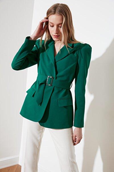 TRENDYOLMİLLA Yeşil Beli Kemerli Blazer Ceket TWOSS20CE0052