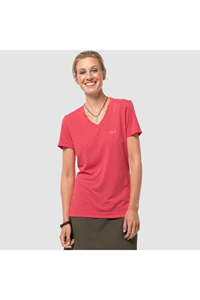 Jack Wolfskin Kadın Kırmızı Crosstrail T Outdoor Tişört