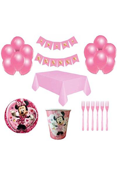 Mickey Mouse 16 Kişilik Doğum Günü Parti Malzemeleri Seti -pembe