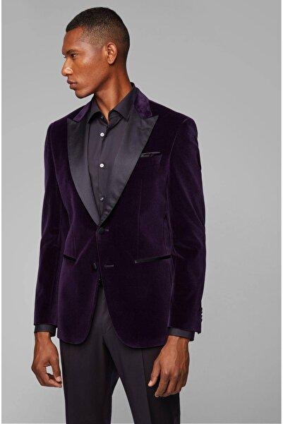 Boss Erkek Mor Ipek Yaka Kadife Blazer Ceket