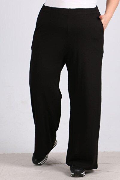 eslamood Kadın Siyah Beli Lastikli Penye Pantolon 9012