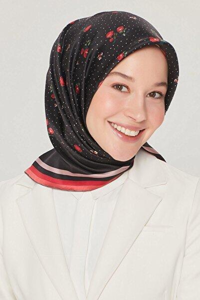 Armine Kadın Siyah Kırmızı İpek Twill Eşarp 8502d-09