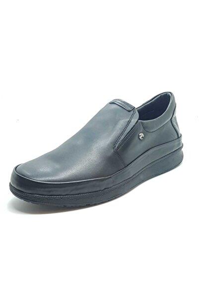 Cacharel Erkek Sİyah Ortopedik Hakiki Deri Bağcıksız Kauçuk Taban Ayakkabı