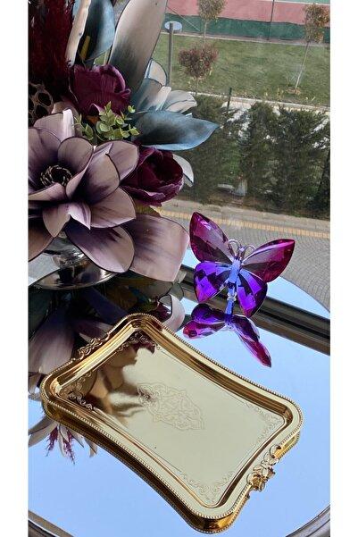 Glamour Home Tek Kişilik Kahve Sunumluk Metal Damat Söz Tepsisi Gold