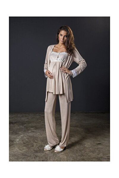 Bondy 17213 Şık Tasarım Hamile Lohusa 3'lü Pijama Sabahlık Takım