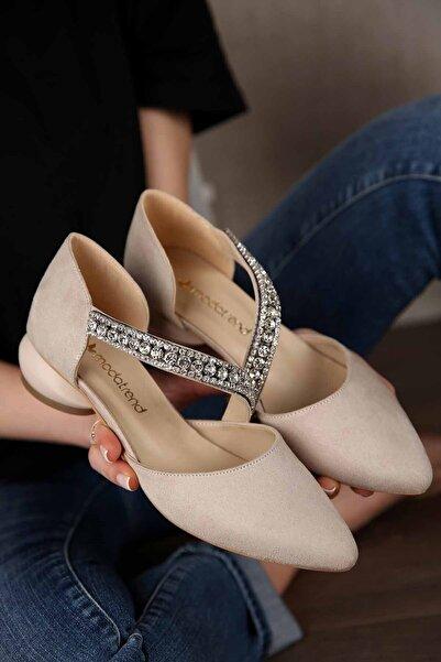 Ccway Kadın Bej Süet Yumurta Topuklu Günlük Ayakkabı