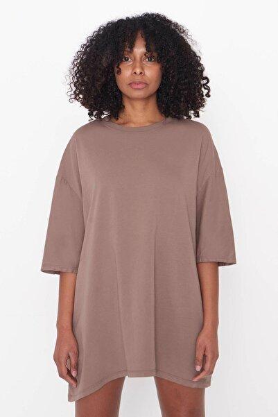Addax Kadın Açık Kahve Oversize T-Shirt P9536 - B13 Adx-0000023955