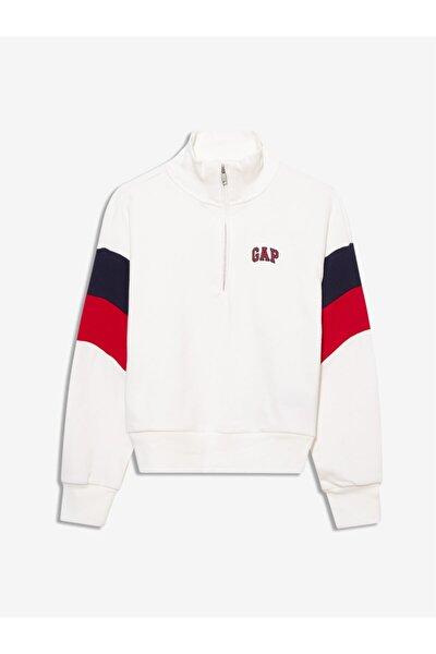 GAP Kadın Beyaz Yarım Fermuarlı Sweatshirt