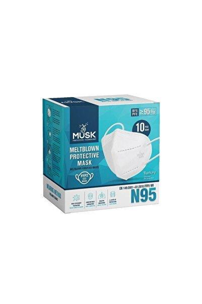 Musk Unisex Beyaz N95 Maske 10'lu 5 Paket 50 Adet