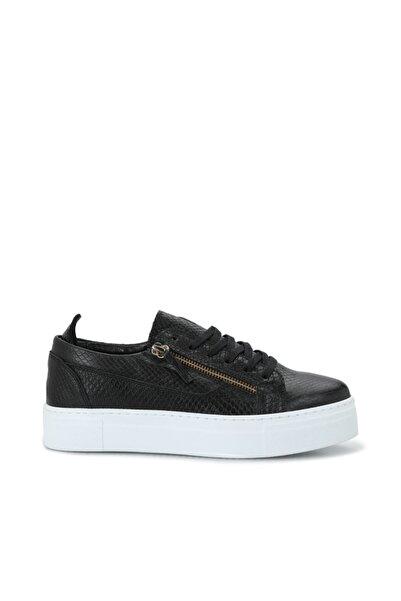George Hogg Kadın Siyah Yılan Baskılı Deri Sneaker