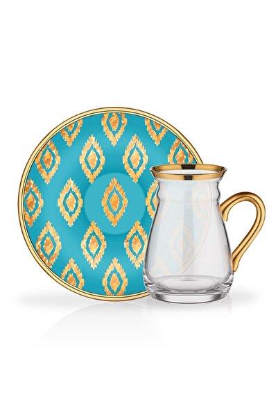 Glore Turkuaz  Nihavent Anita Kulplu 6'lı Çay Seti