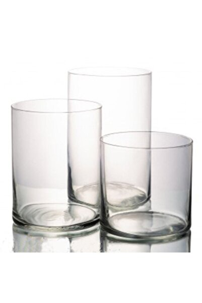 GLASSY 3'lü Cam Silindir Set 14 Çap (20-30-40 Cm )