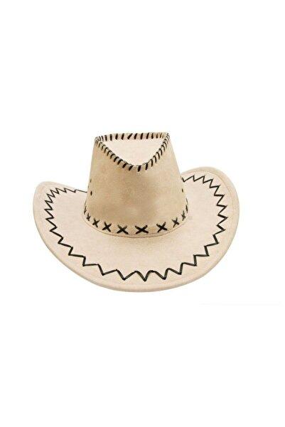 Pandoli Bağcıklı Yetişkin Nubuk Kovboy Şapkası