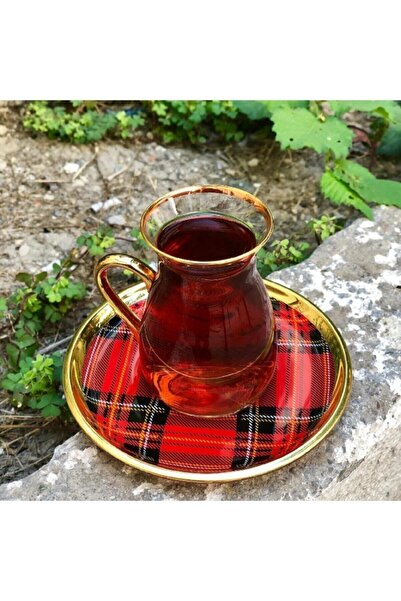 Glore Nihavent Ekose Kırmızı Kulplu 6'lı Çay Seti
