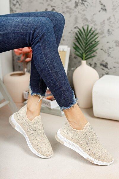 meyra'nın ayakkabıları Kadın Krem Taşlı Çorap Sneaker