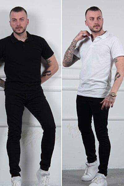 MODAGEN 2li Siyah Beyaz Polo Yaka Erkek Tişört Tshirt