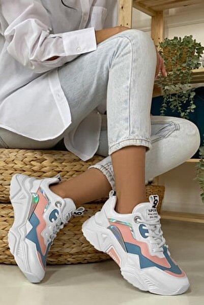 Kadın Mavi Beyaz Sneaker