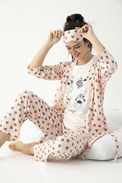 Mirano Kadın Sabahlıklı Uyku Bantlı Yıldız Baskılı 5'li Pijama Takımı Pembe Homewear Ev Kıyafeti 4020
