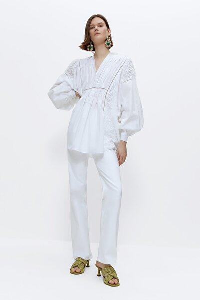 Uterqüe Kadın Beyaz Bohem Poplin Oversize Bluz 00614254