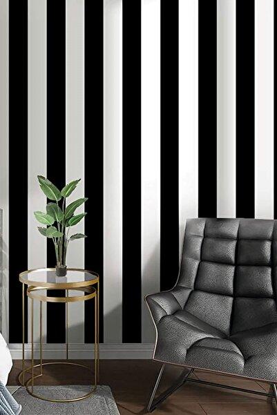 New Age 7950 Kalın Çizgili Siyah Beyaz Duvar Kağıdı (5 M²)
