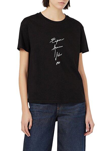 Emporio Armani Kadın Siyah Baskılı Bisiklet Yaka Pamuk T Shirt 3k2t7b 2j95z 0999
