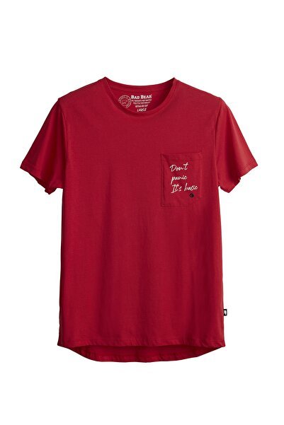 Bad Bear Erkek Parlak Kırmızı Tişört Panıc Basıc Tee
