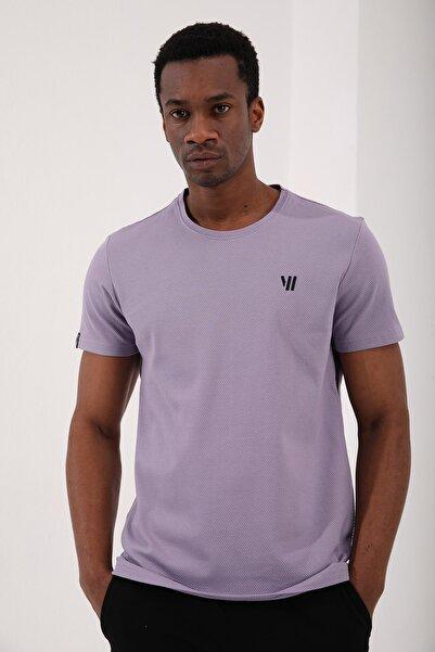 Tommy Life Erkek Mor Petek Dokulu Çift Ok Logolu Standart Kalıp O Yaka T-shirt - 87921