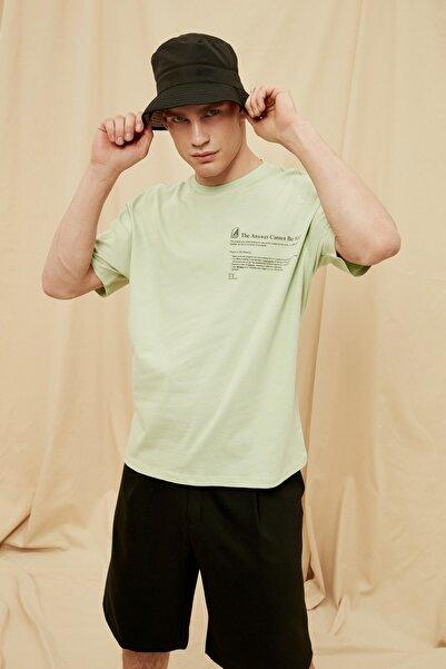 TRENDYOL MAN Mint Erkek %100 Organik Pamuk Oversize T-Shirt TMNSS21TS1474