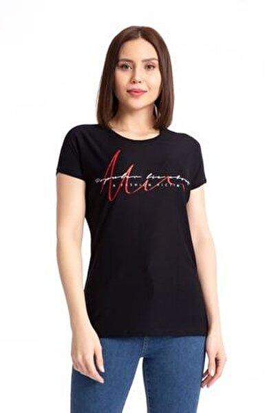 Baskılı Siyah Salaş T-shirt 19599