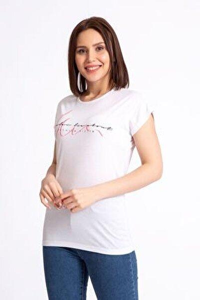 Kadın Beyaz A Fashion Baskılı Salaş T-shirt 19599