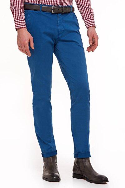 Hemington Erkek Mavi Kadife Dokulu Petrol Chino Pantolon