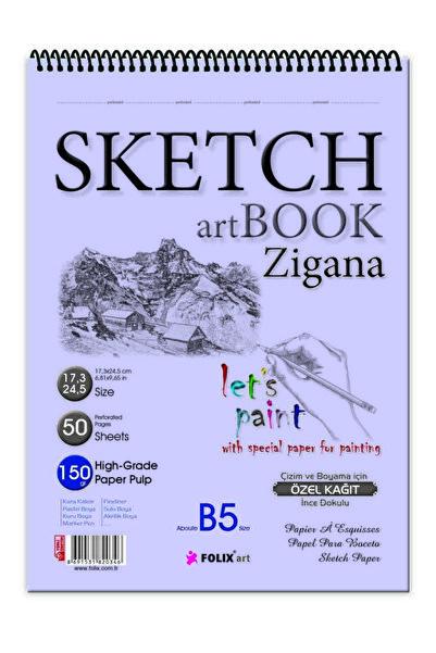 Etika Sketchbook Zigana B5 Spiralli 150 gr. 17,3x24,5 cm 50 yp. Eskiz Defteri