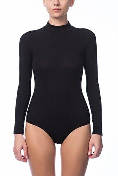 Kadın Siyah Uzun Kol Çıtçıtlı Body 2960