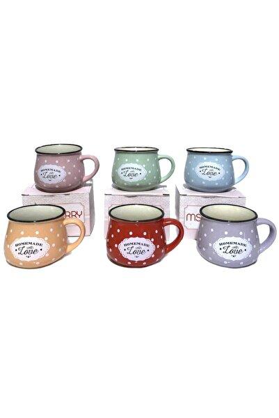 Perotti 6 Renk Emaye Görünümlü Homemade Love Porselen Tombul Çay Nescafe Fincanı