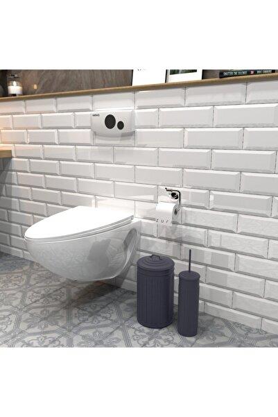 The Mia Çöp Kovası & Tuvalet Fırçası Seti Space Gray By Zuri