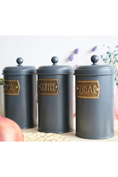 The Mia 3'lü Büyük Çay Şeker Kahve Kavanozu Space Gray By Zuri