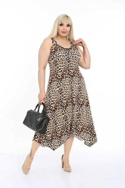 HERAXL Kadın Leopar Desen Toka Detaylı Askılı Elbise