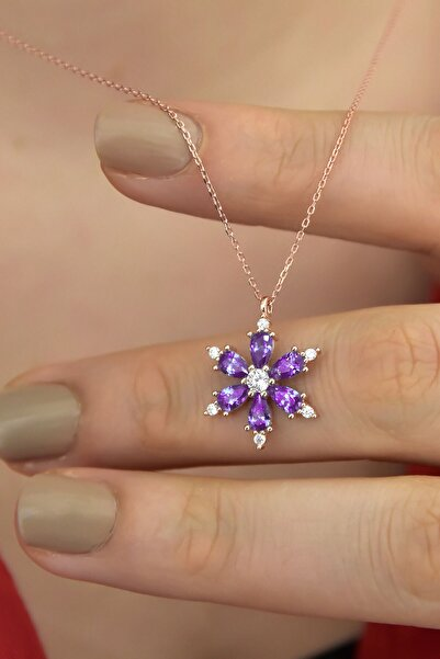Papatya Silver 925 Ayar Gümüş Ametist Taşlı Kamelya Çiçeği Kadın Kolye