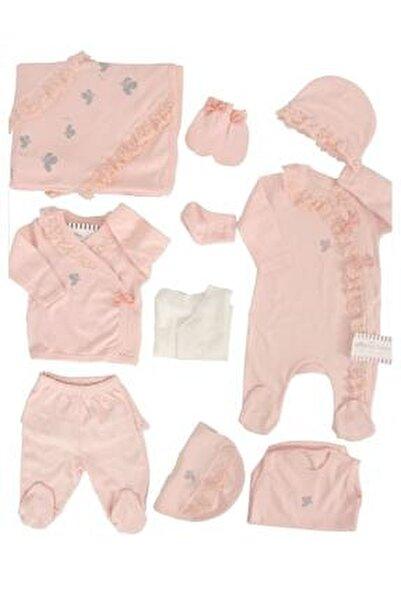 Kız Bebek Somon Dantelli Kelebekli 10lu Hastane Çıkışı Defne Sabunlu Set