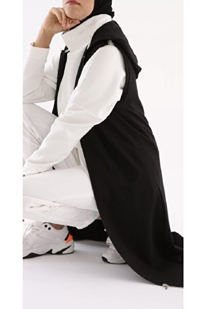 ALLDAY Gab Kadın Siyah Fermuarlı Kapüşonlu Penye Yelek