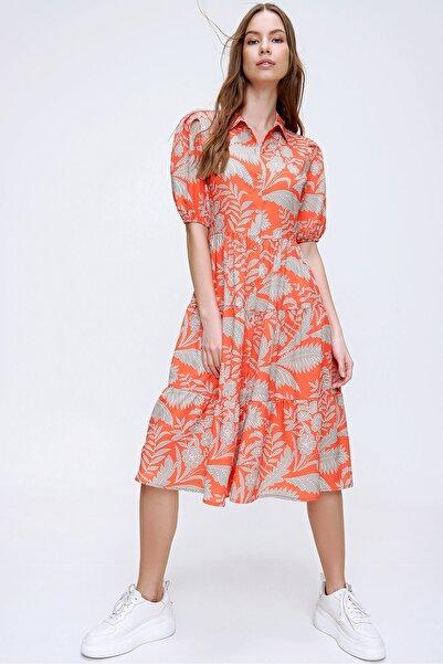 Trend Alaçatı Stili Kadın Turuncu Balon Kol Volanlı Gömlek Elbise ALC-X6031