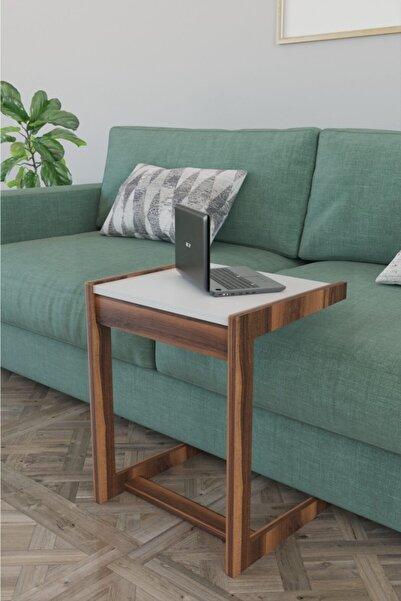 Haus Modüler C Sehpa Koltuk Sehpası Yan Sehpa Zigon Sehpa Servis Sehpası Koltuk Laptop - Beyaz